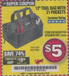 "Harbor Freight Coupon VOYAGER 12"" WIDE MOUTH TOOL BAG Lot No. 38168/62163/62349/61467 Expired: 4/13/19 - $5"