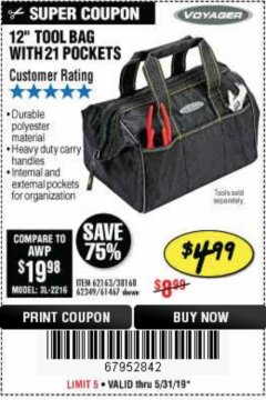 "Harbor Freight Coupon VOYAGER 12"" WIDE MOUTH TOOL BAG Lot No. 38168/62163/62349/61467 EXPIRES: 5/31/19 - $4.99"