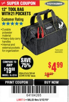 "Harbor Freight Coupon VOYAGER 12"" WIDE MOUTH TOOL BAG Lot No. 38168/62163/62349/61467 Expired: 5/12/19 - $4.99"