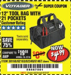 "Harbor Freight Coupon VOYAGER 12"" WIDE MOUTH TOOL BAG Lot No. 38168/62163/62349/61467 Expired: 8/12/19 - $4.99"