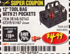 "Harbor Freight Coupon VOYAGER 12"" WIDE MOUTH TOOL BAG Lot No. 38168/62163/62349/61467 Expired: 6/30/19 - $4.99"