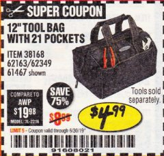 "Harbor Freight Coupon VOYAGER 12"" WIDE MOUTH TOOL BAG Lot No. 38168/62163/62349/61467 Expired: 6/17/19 - $4.99"