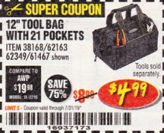 "Harbor Freight Coupon VOYAGER 12"" WIDE MOUTH TOOL BAG Lot No. 38168/62163/62349/61467 Expired: 7/31/19 - $4.99"