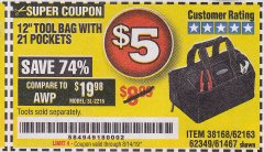 "Harbor Freight Coupon VOYAGER 12"" WIDE MOUTH TOOL BAG Lot No. 38168/62163/62349/61467 Expired: 8/14/19 - $5"