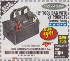 "Harbor Freight Coupon VOYAGER 12"" WIDE MOUTH TOOL BAG Lot No. 38168/62163/62349/61467 Expired: 11/28/19 - $4.99"