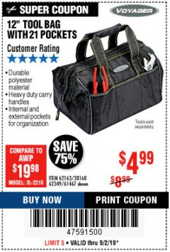 "Harbor Freight Coupon VOYAGER 12"" WIDE MOUTH TOOL BAG Lot No. 38168/62163/62349/61467 Expired: 9/2/19 - $4.99"