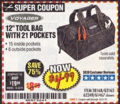 "Harbor Freight Coupon VOYAGER 12"" WIDE MOUTH TOOL BAG Lot No. 38168/62163/62349/61467 Expired: 10/31/19 - $4.99"