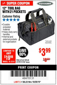 "Harbor Freight Coupon VOYAGER 12"" WIDE MOUTH TOOL BAG Lot No. 38168/62163/62349/61467 Expired: 10/20/19 - $3.99"