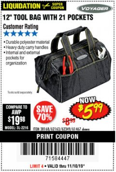 "Harbor Freight Coupon VOYAGER 12"" WIDE MOUTH TOOL BAG Lot No. 38168/62163/62349/61467 Expired: 11/10/19 - $5.99"