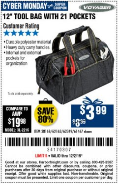 "Harbor Freight Coupon VOYAGER 12"" WIDE MOUTH TOOL BAG Lot No. 38168/62163/62349/61467 Expired: 12/2/19 - $3.99"