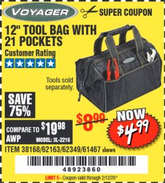 "Harbor Freight Coupon VOYAGER 12"" WIDE MOUTH TOOL BAG Lot No. 38168/62163/62349/61467 Expired: 2/12/20 - $4.99"
