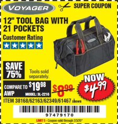 "Harbor Freight Coupon VOYAGER 12"" WIDE MOUTH TOOL BAG Lot No. 38168/62163/62349/61467 Expired: 2/3/20 - $4.99"