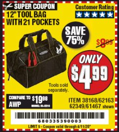"Harbor Freight Coupon VOYAGER 12"" WIDE MOUTH TOOL BAG Lot No. 38168/62163/62349/61467 EXPIRES: 6/30/20 - $4.99"