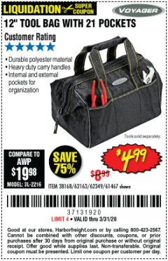 "Harbor Freight Coupon VOYAGER 12"" WIDE MOUTH TOOL BAG Lot No. 38168/62163/62349/61467 Expired: 3/31/20 - $4.99"