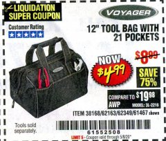 "Harbor Freight Coupon VOYAGER 12"" WIDE MOUTH TOOL BAG Lot No. 38168/62163/62349/61467 Valid Thru: 6/30/20 - $4.99"