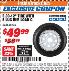 "Harbor Freight ITC Coupon 5.30-12"" TIRE WITH 5 LUG RIM LOAD C Lot No. 64235 Expired: 11/30/18 - $49.99"
