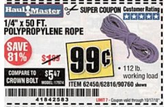 "Harbor Freight Coupon 1/4"" X 50 FT. POLY ROPE Lot No. 90760/62450/62816 Expired: 10/17/18 - $0.99"