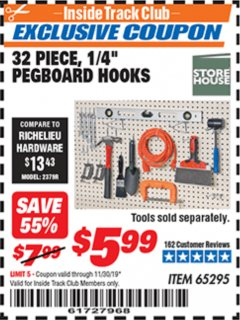 "Harbor Freight ITC Coupon 32 PIECE, 1/4"" PEGBOARD HOOKS Lot No. 65295 Expired: 11/30/19 - $5.99"