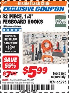 "Harbor Freight ITC Coupon 32 PIECE, 1/4"" PEGBOARD HOOKS Lot No. 65295 Expired: 3/31/20 - $5.99"