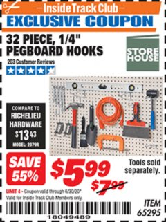 "Harbor Freight ITC Coupon 32 PIECE, 1/4"" PEGBOARD HOOKS Lot No. 65295 Valid Thru: 6/30/20 - $5.99"