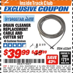 Harbor Freight ITC Coupon DRAIN CLEANER REPLACEMENT CABLE AND CUTTER SET Lot No. 63269 Expired: 1/31/19 - $39.99