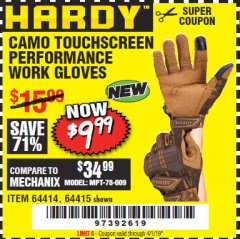 Harbor Freight Coupon HARDY CAMO TOUCHSCREEN PERFORMANCE WORK GLOVES Lot No. 64415/64414 Expired: 4/1/19 - $9.99