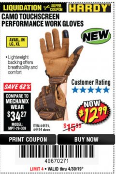 Harbor Freight Coupon HARDY CAMO TOUCHSCREEN PERFORMANCE WORK GLOVES Lot No. 64415/64414 Valid Thru: 4/30/19 - $12.99