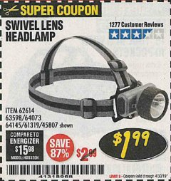 Harbor Freight Coupon HEADLAMP WITH SWIVEL LENS Lot No. 45807/61319/63598/62614 Valid Thru: 4/30/19 - $1.99