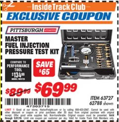 Harbor Freight ITC Coupon MASTER FUEL INJECTION PRESSURE TEST KIT Lot No. 63727 Dates Valid: 12/31/69 - 5/31/19 - $69.99