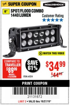 Harbor Freight Coupon ROADSHOCK 1440 LUMENS 8 IN. COMBO LIGHT BAR Lot No. 64324 Expired: 10/27/19 - $39.99