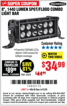 Harbor Freight Coupon ROADSHOCK 1440 LUMENS 8 IN. COMBO LIGHT BAR Lot No. 64324 Expired: 6/30/20 - $34.99