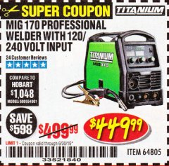 Harbor Freight Coupon TITANIUM MIG 170 WELDER Lot No. 64805 Expired: 6/30/19 - $449.99