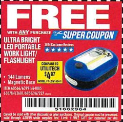 Harbor Freight FREE Coupon ULTRA BRIGHT LED PORTABLE WORK LIGHT / FLASHLIGHT Lot No. 60566/63601/63991/64005/63878/69567 Valid Thru: 4/30/19 - FWP