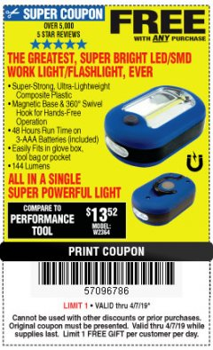 Harbor Freight FREE Coupon ULTRA BRIGHT LED PORTABLE WORK LIGHT / FLASHLIGHT Lot No. 60566/63601/63991/64005/63878/69567 Expired: 4/7/19 - FWP