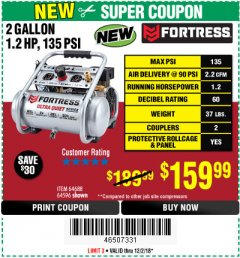 Harbor Freight Coupon FORTRESS 2 GALLON, 1.2 HP, 135 PSI ULTRA-QUIET, OIL-FREE PROFESSIONAL AIR COMPRESSOR Lot No. 64688/64596 Expired: 12/2/18 - $159.99
