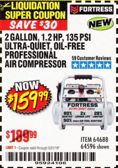 Harbor Freight Coupon FORTRESS 2 GALLON 1.2HP, 135PSI AIR COMPRESSOR Lot No. 64688/64596 EXPIRES: 5/31/19 - $159.99
