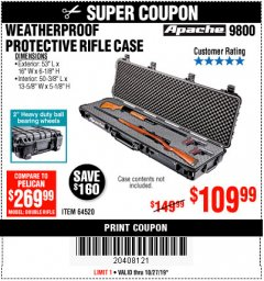 "Harbor Freight Coupon APACHE 9800 WEATHERPROOF 13-1/2"" X 50-1/2"" CASE - LONG Lot No. 64520 Expired: 10/27/19 - $109.99"
