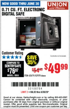 Harbor Freight Coupon 0.71 CU. FT. ELECTRONIC DIGITAL SAFE Lot No. 45891/61724/62679 EXPIRES: 6/30/20 - $49.99
