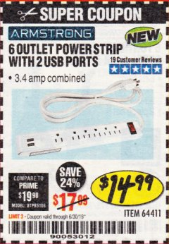 Harbor Freight Coupon 6 OUTLET POWER STRIP WITH 2 USB PORTS Lot No. 64411 Expired: 6/17/19 - $14.99