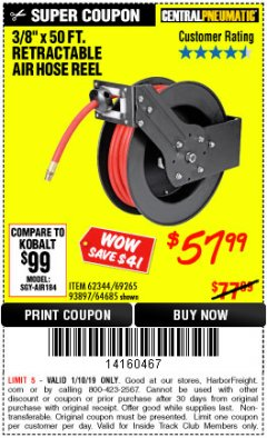 "Harbor Freight ITC Coupon 3/8"" X 50 FT. RETRACTABLE AIR HOSE REEL Lot No. 46320/69265/62344/64685/93897 Expired: 1/10/19 - $57.99"