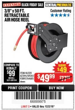"Harbor Freight Coupon 3/8"" X 50 FT. RETRACTABLE AIR HOSE REEL Lot No. 46320/69265/62344/64685/93897 Expired: 12/2/18 - $49.99"