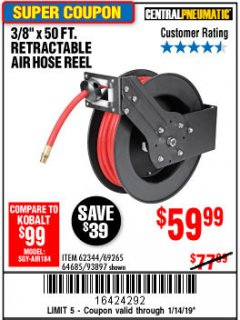 "Harbor Freight Coupon 3/8"" X 50 FT. RETRACTABLE AIR HOSE REEL Lot No. 46320/69265/62344/64685/93897 Expired: 1/14/19 - $59.99"