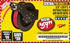 "Harbor Freight Coupon 3/8"" X 50 FT. RETRACTABLE AIR HOSE REEL Lot No. 46320/69265/62344/64685/93897 Expired: 2/16/19 - $59.99"