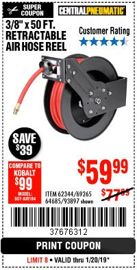 "Harbor Freight Coupon 3/8"" X 50 FT. RETRACTABLE AIR HOSE REEL Lot No. 46320/69265/62344/64685/93897 Expired: 1/20/19 - $59.99"