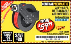 "Harbor Freight Coupon 3/8"" X 50 FT. RETRACTABLE AIR HOSE REEL Lot No. 46320/69265/62344/64685/93897 Expired: 4/5/19 - $59.99"
