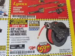 "Harbor Freight Coupon 3/8"" X 50 FT. RETRACTABLE AIR HOSE REEL Lot No. 46320/69265/62344/64685/93897 Expired: 4/30/19 - $59.99"