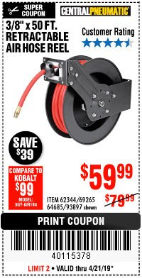 "Harbor Freight Coupon 3/8"" X 50 FT. RETRACTABLE AIR HOSE REEL Lot No. 46320/69265/62344/64685/93897 Expired: 4/21/19 - $59.99"