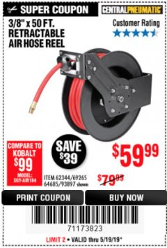 "Harbor Freight Coupon 3/8"" X 50 FT. RETRACTABLE AIR HOSE REEL Lot No. 46320/69265/62344/64685/93897 Expired: 5/19/19 - $59.99"