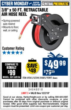 "Harbor Freight Coupon 3/8"" X 50 FT. RETRACTABLE AIR HOSE REEL Lot No. 46320/69265/62344/64685/93897 Expired: 12/2/19 - $49.99"