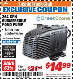 Harbor Freight ITC Coupon CREEKSTONE 264 GPH SUBMERSIBLE POND PUMP Lot No. 63313 Dates Valid: 12/31/69 - 6/30/20 - $14.99